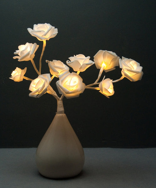 Pretty Valley Home - Artificial LED Rose flower with pear vase