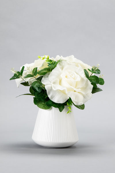 R-B002 Large White LED Rose Mixed Bouquet