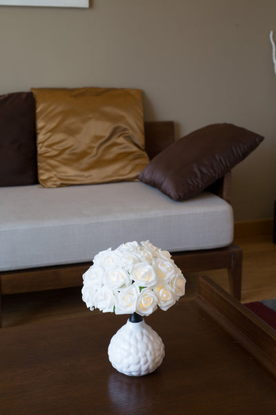 Pretty Valley Home - Artificial LED Rose Bouquet with round vase