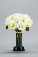 White Silk Rose Bouquet LED Flower - R-022