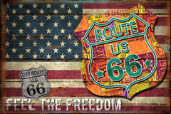 Route 66 Freedom Flag LED Painting - ta15-pa02044