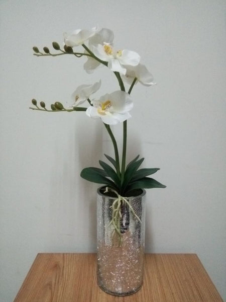 White Orchid LED Flower in Mosaic Mirror Vase - O-002W
