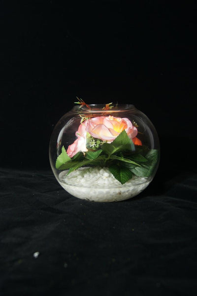 Pink Rose LED Flowers in Round Glass Vase - R-19V