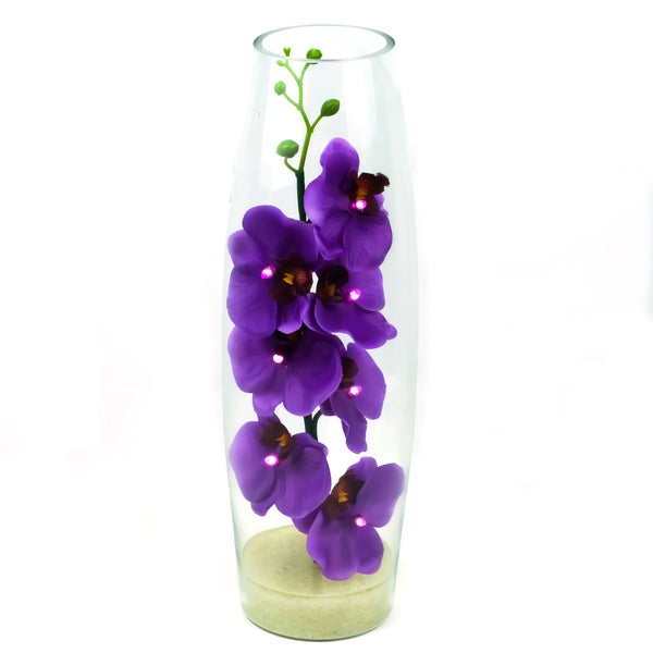 Purple Orchid LED Flower in Tall Glass Vase - O-026P