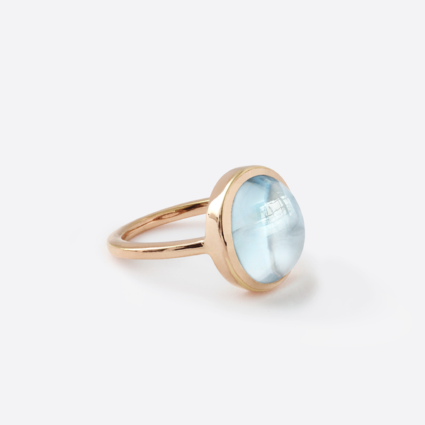 18k rose gold-plated 925 silver ring set with an oval natural blue topaz cabochon