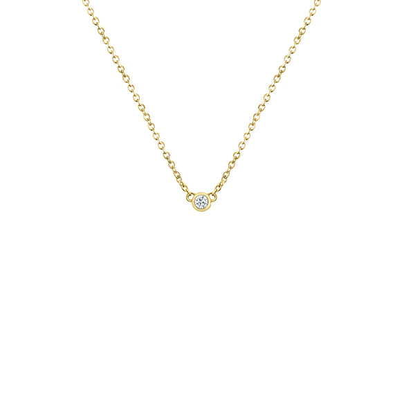 Yellow gold-plated silver diamond necklace for women