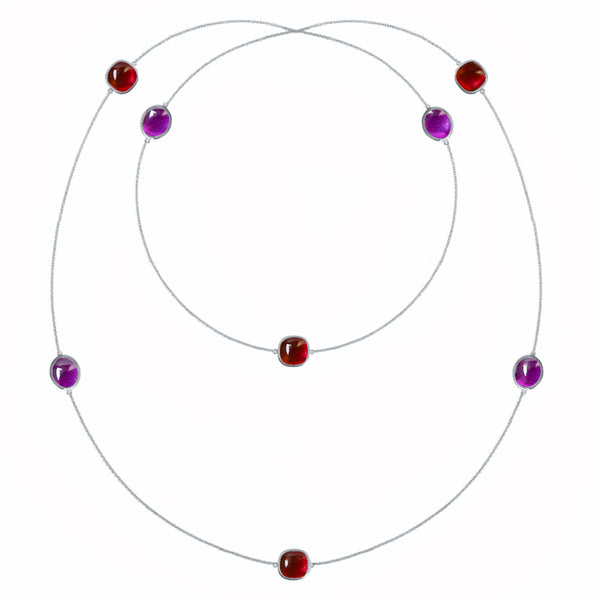 Rhodium silver long necklace in garnet and amethyst