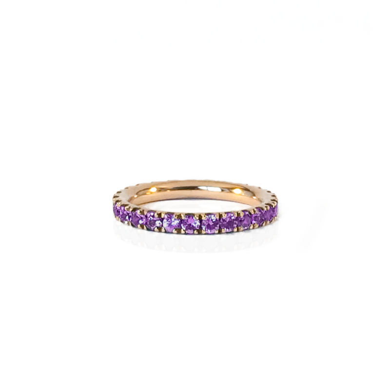Alliance en or rose 18k et amethyste en pavage tour complet