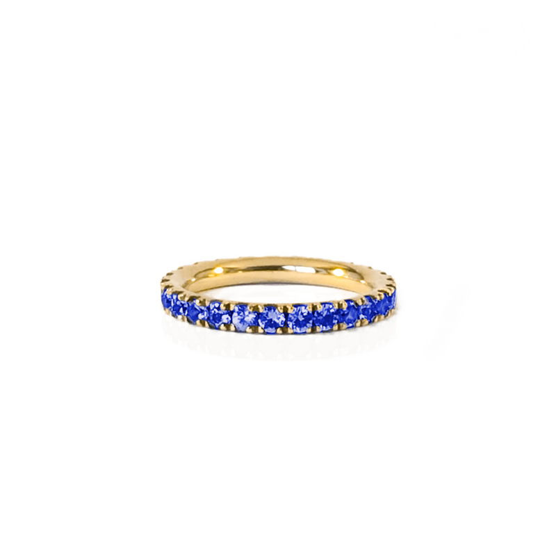 Alliance en or jaune 18k et saphir bleu en pavage tour complet