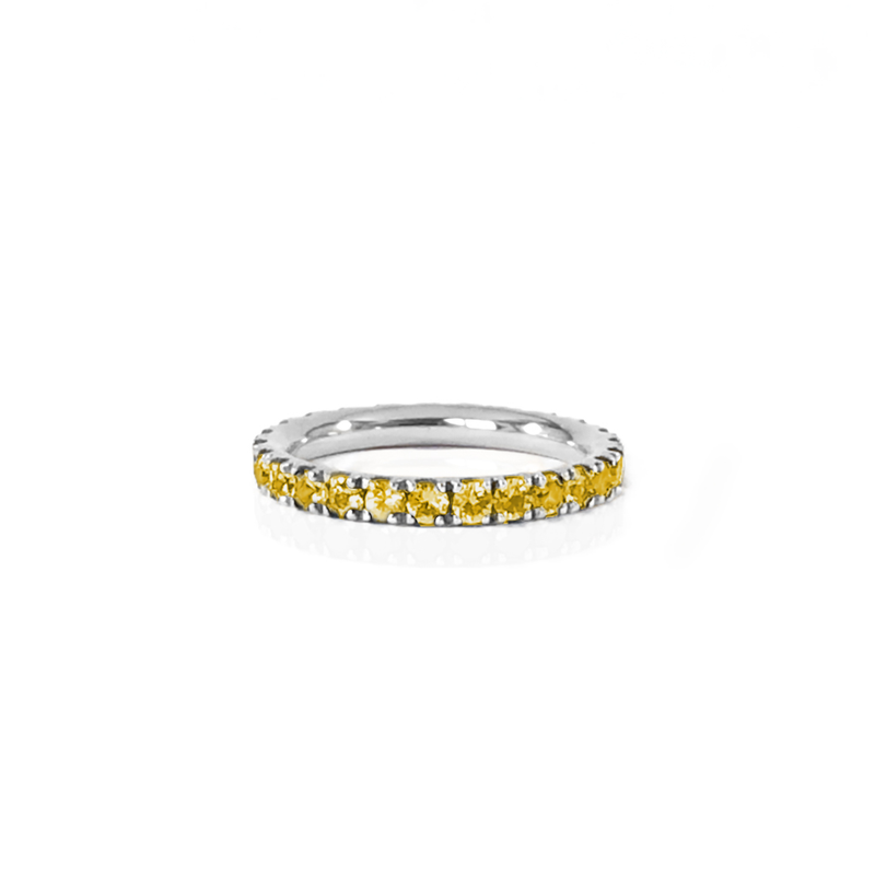 Alliance en or blanc 18k et citrine en pavage tour complet