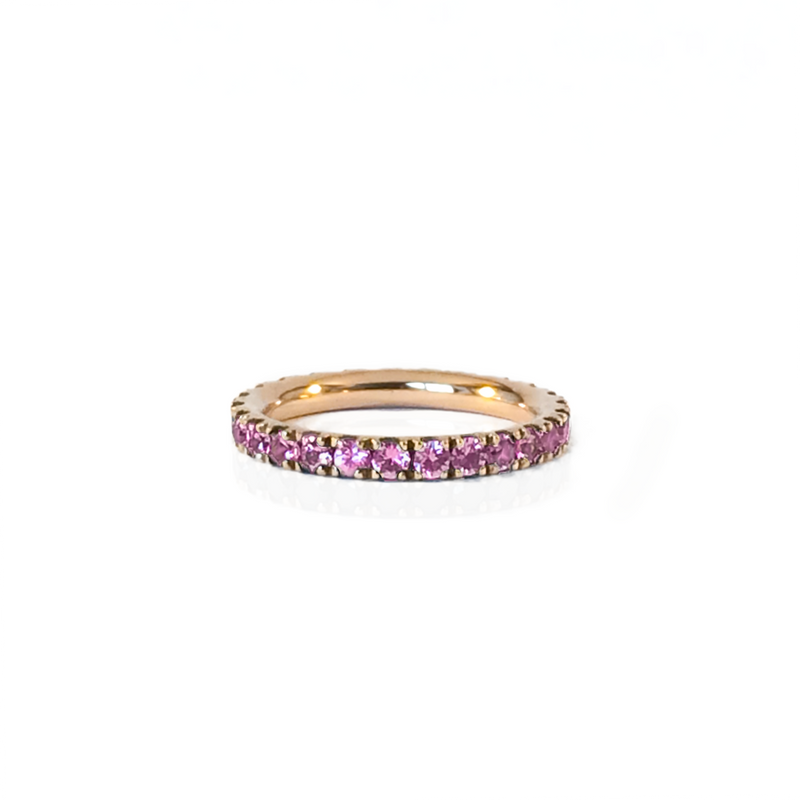 Alliance en or rose 18k et saphir rose en pavage tour complet