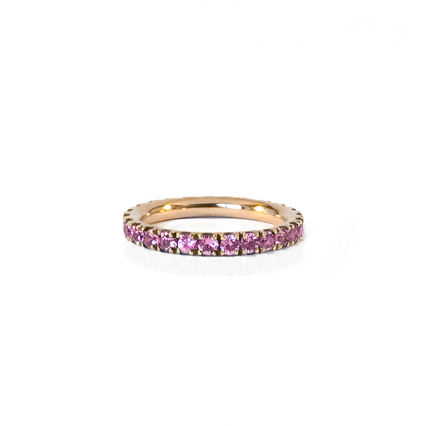 Pink gold-plated silver ring and full round paving in natural pink sapphire
