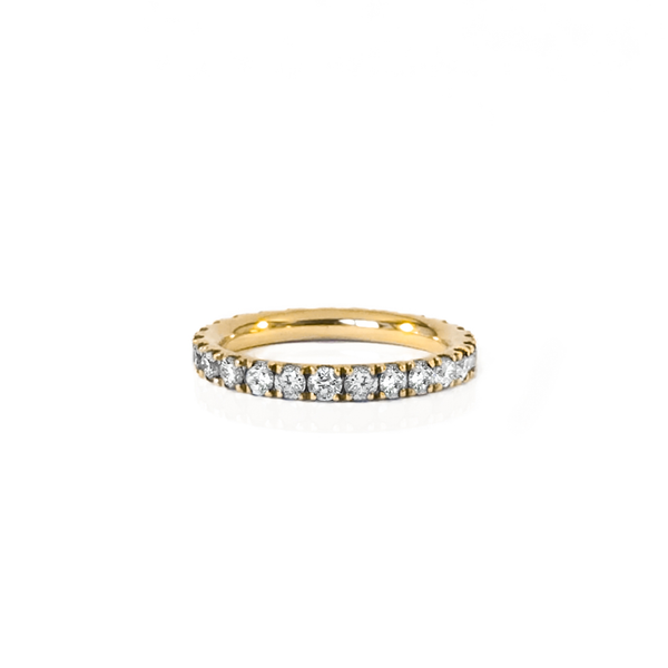 Silver ring plated yellow gold and paving full diamond tower