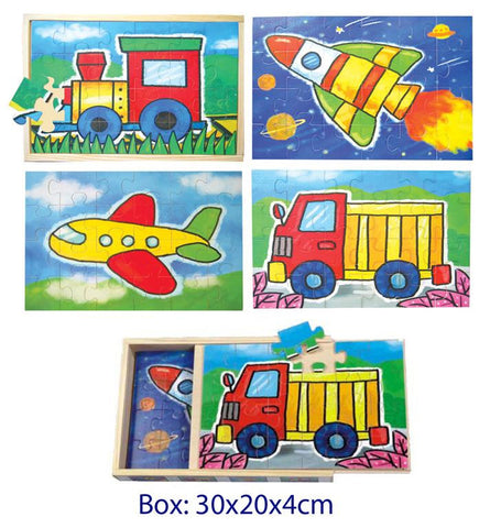Wooden Toys Plane, Train, Rocket and Truck Jigsaw Puzzle for Young Children