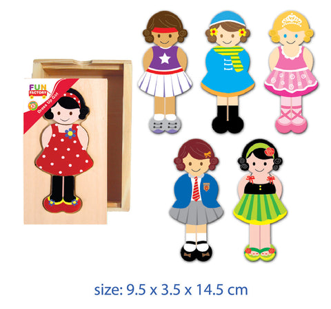 Online Toys Wooden Doll Dress Up Set
