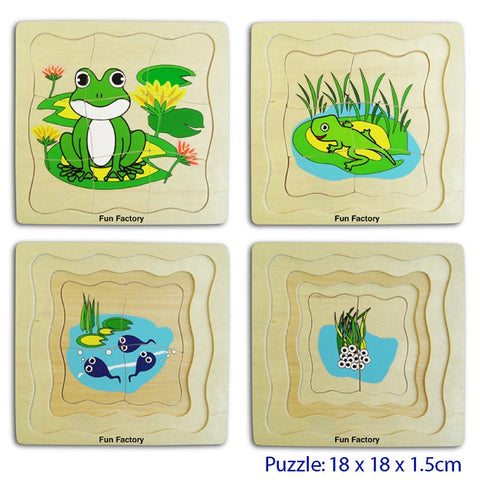 Wooden Toys, 4 Layer Wooden Frog Puzzle for Young Children