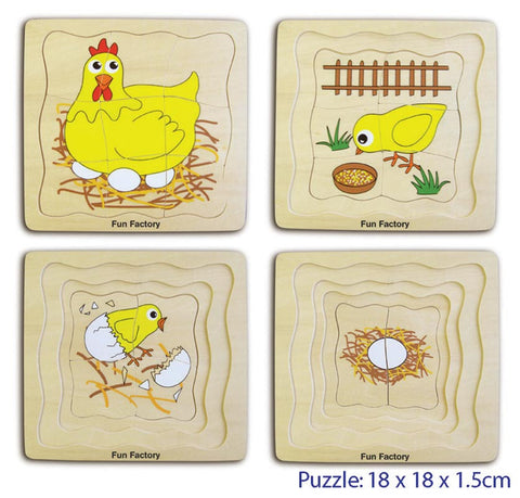 Wooden Toys, 4 Layer Chicken Wooden Puzzle