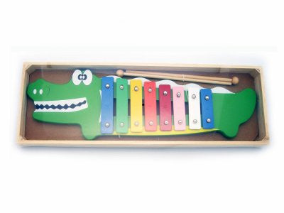 Online Toys, Children's Metal and Wood Crocodile Xylophone Toy