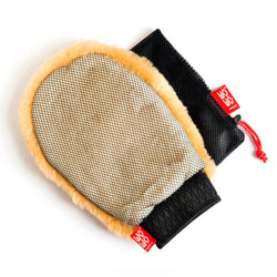 Wo-Wo Lambswool Wash Mitt With Mesh Side And Drying Bag