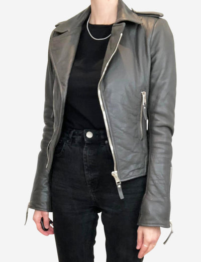 Grey leather biker jacket - size IT 36