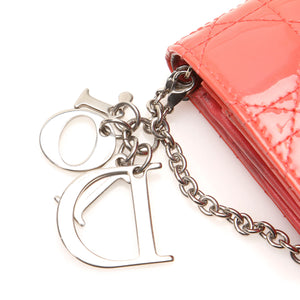 Coral cannage patent leather wallet on chain