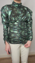 Load and play video in Gallery viewer, Green metallic ruched top - size FR 36