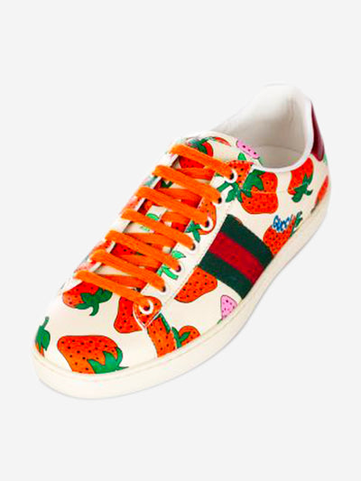 Cream and red web strawberry ace leather sneakers - size 38.5