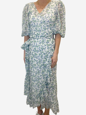 White with blue floral print wrap maxi dress - size FR 38