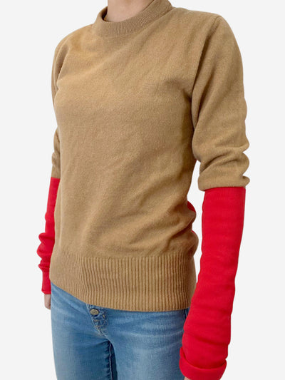 Camel and red sweater - size S