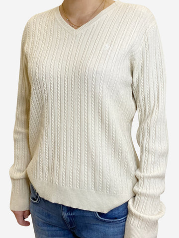 Cream cable knit v-neck jumper - size M