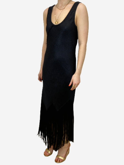 Black fringe bottom maxi dress - size UK 8