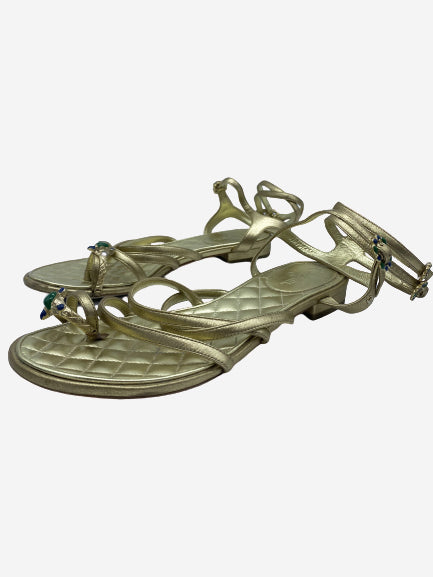 Gold toe strap sandals with green and blue stones - size 4