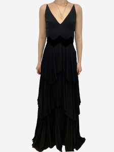 Givenchy Black pleated tiered v-neck gown - size FR 36