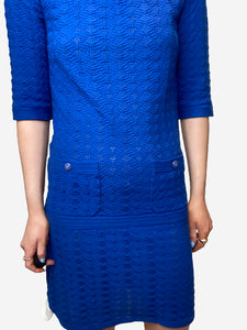 Chanel Blue knitted short sleeve dress - size FR 34