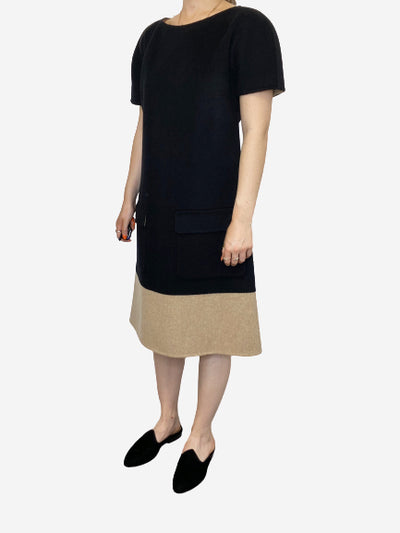 Black and beige short sleeve cashmere knee-length dress - size FR 48