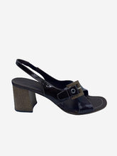 Load image into Gallery viewer, Brown patent slingback wooden heels - size EU 36.5