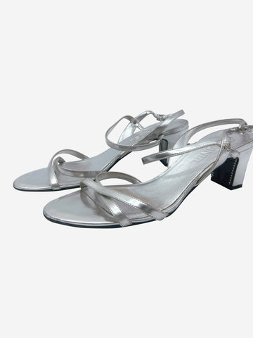 Silver heeled sandals -  size EU 38.5