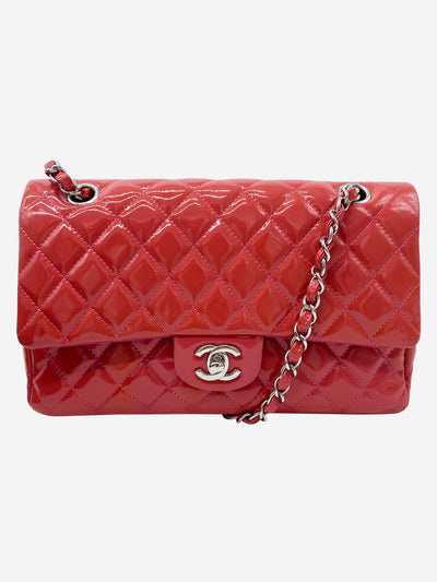 Medium coral patent quilted Double Flap bag