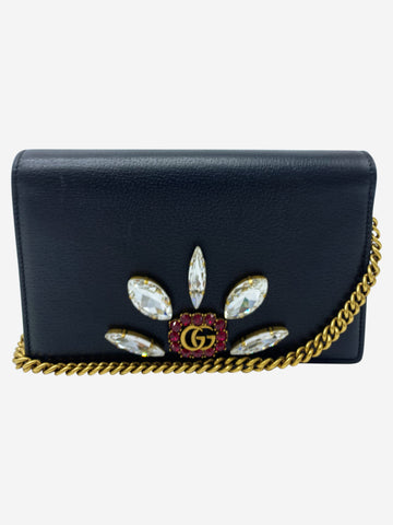 GG Marmont Bijoux black crystal wallet on chain