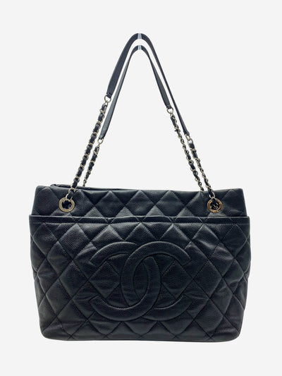 Black Matelasse caviar chain CC quilted tote bag