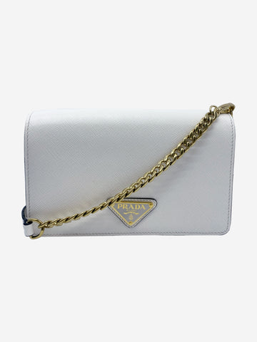 White & gold Saffiano wallet on chain