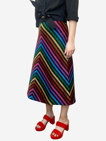 Multicoloured metallic chevron midi skirt -size L