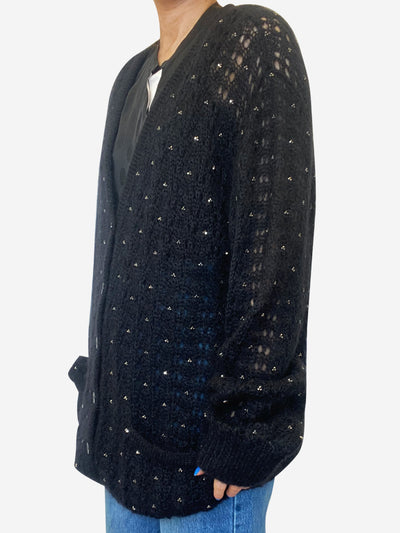 Black beaded mohair cardigan - size XL