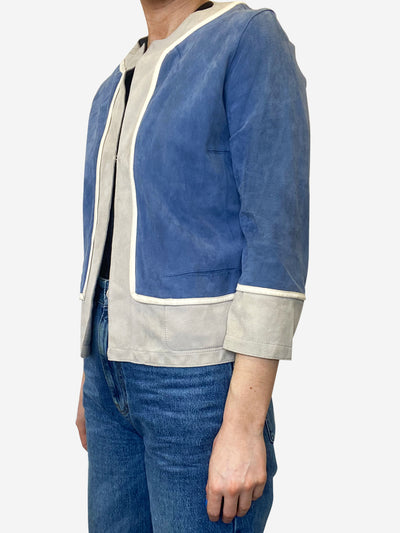 Blue & grey suede cropped jacket - size UK 8