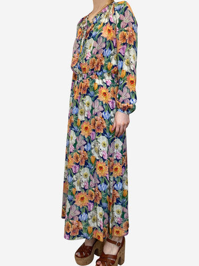 Multicoloured long sleeve floral midi dress - size UK 8