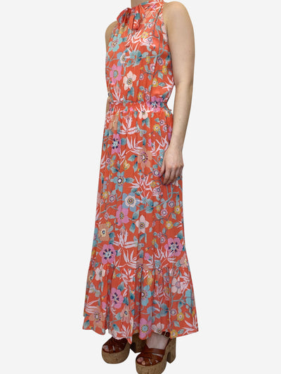 Orange floral sleeveless midi dress - size UK 10