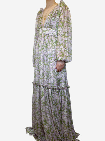 Iman lilac floral  ruffle maxi dress - size UK 10