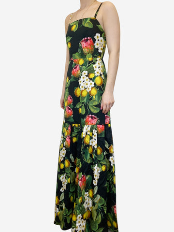Cordelia black lemon print maxi dress - size UK 8