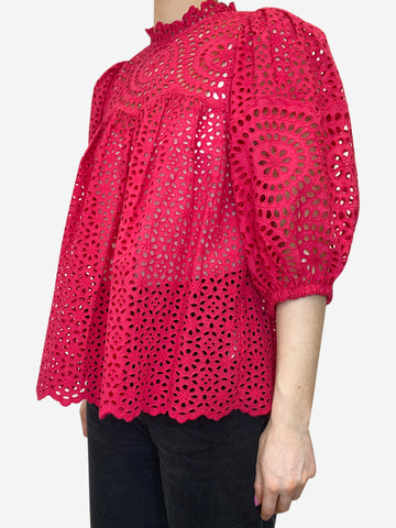 Hot pink broderie anglaise puff sleeve blouse - size US 6