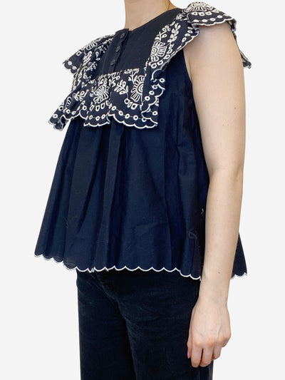 Blue embroidered frill top - size UK 8